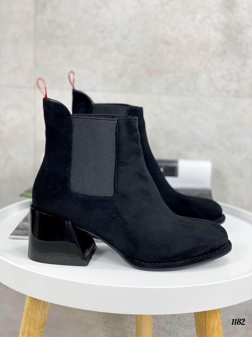 Женские ботильоны-ботинки  ДЕМИ / осенние на каблуке 6 см черные эко замша