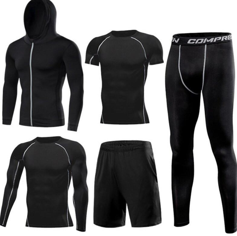 Компрессионный комплект 5в1 для тренировок черного цвета (рашгард+леггинсы+шорты+кофта+футболка)