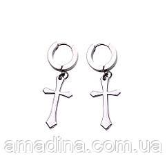 Сережки кільця з підвіскою хрест чоловічі жіночі пірсинг нержавіюча сталь, серьги крест стальные серебро