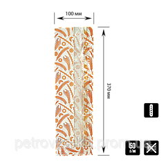 "395 Пакет ""Колоски"" с окошком для багета 370х100х50/80мм (ВхШхГхШВ) 50г/м²  (1уп/100шт)"