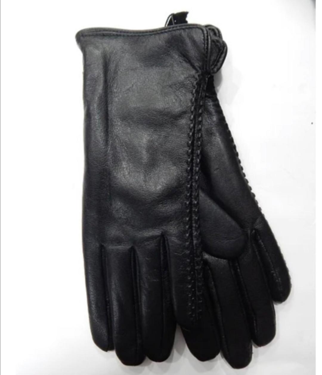 Кожаные женские перчатки на меху