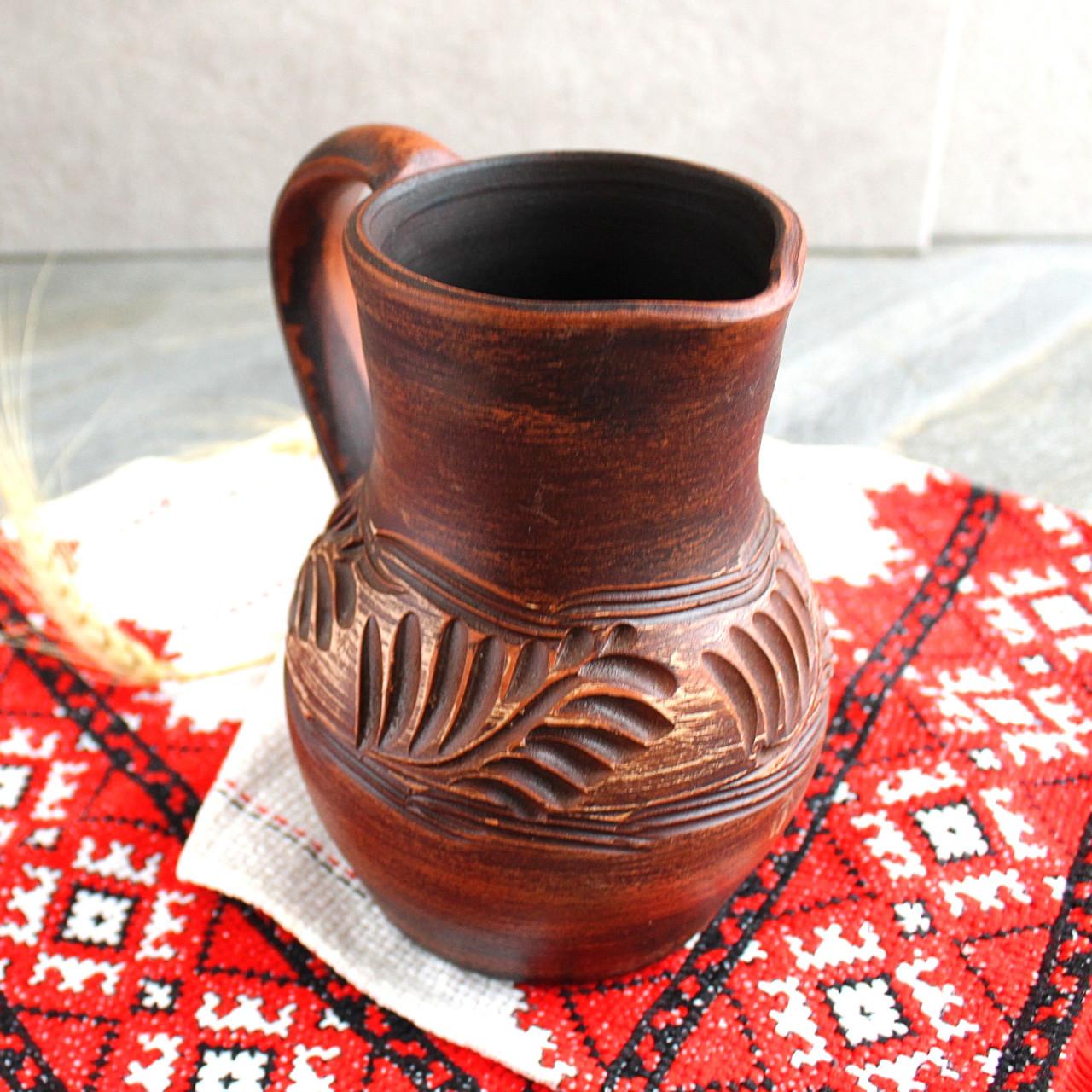 Глечик малий з червоної глини 750 мл, український виробник