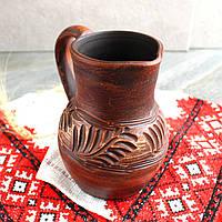 Глечик малий з червоної глини 750 мл, український виробник, фото 1