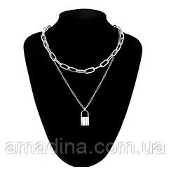 Женская двойная цепочка с крупными звеньями, колье серебристое с подвеской замок