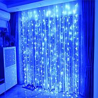 Гирлянда водопад-штора Premium синяя 2х2м 240 LED, 9 режимов, есть замирание, гарантия!