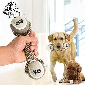Гантелька для собак двойной теннисный мяч 22см Веревочная жевательная игрушка для собак с мячиком