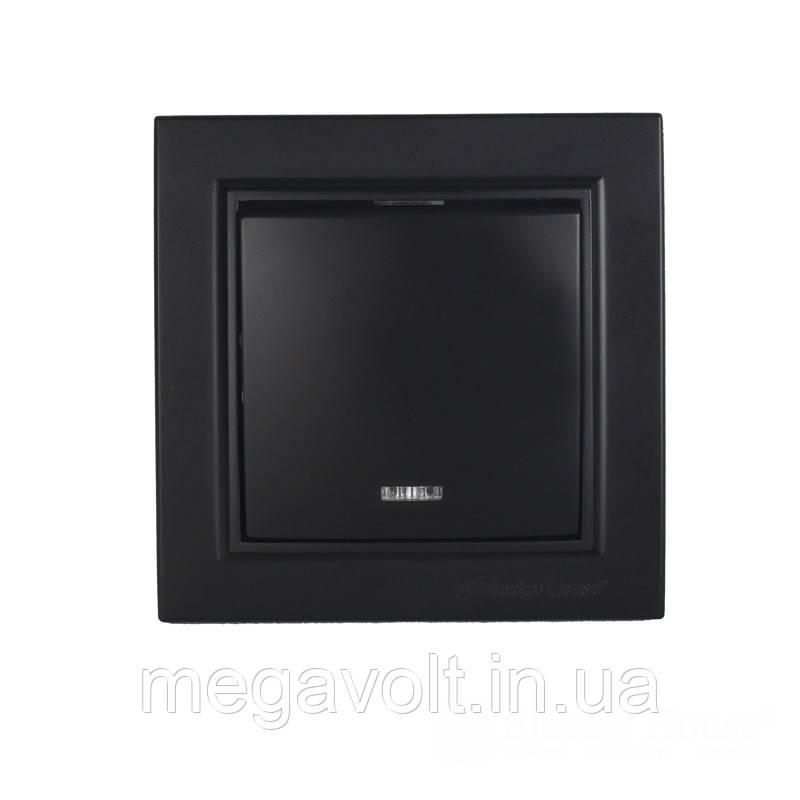Выключатель с подсветкой Безупречный графит Enzo IP22