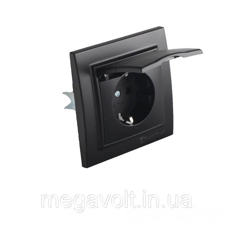 Розетка с крышкой  Безупречный графит Enzo 16A IP22