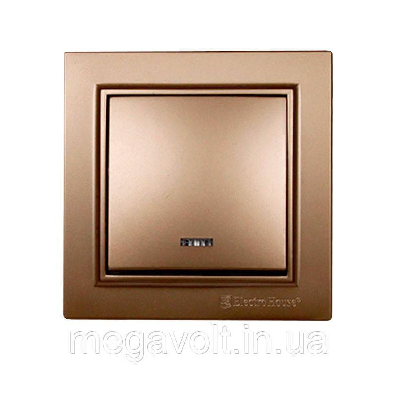Выключатель с подсветкой Роскошно золотой Enzo IP22