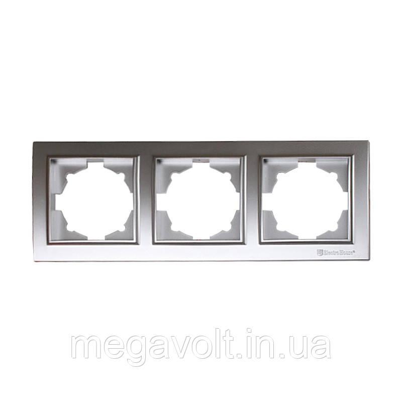 Рамка тройная серебро Enzo