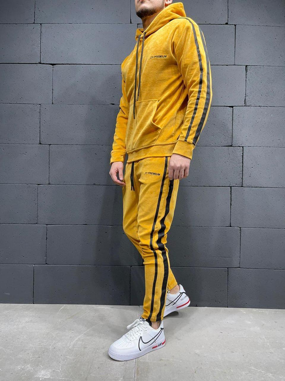 Мужской спортивный костюм велюровый 2Y Premium 6032 yellow