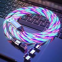 Магнитный светящийся поворотный кабель с LED подсветкой Greenport 3в1 Iphone, microUSB, Type-C White