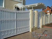 """Автоматические распашные кованые ворота в белом цвете с белым поликарбонатом """"стандарт класс"""", фото 1"""