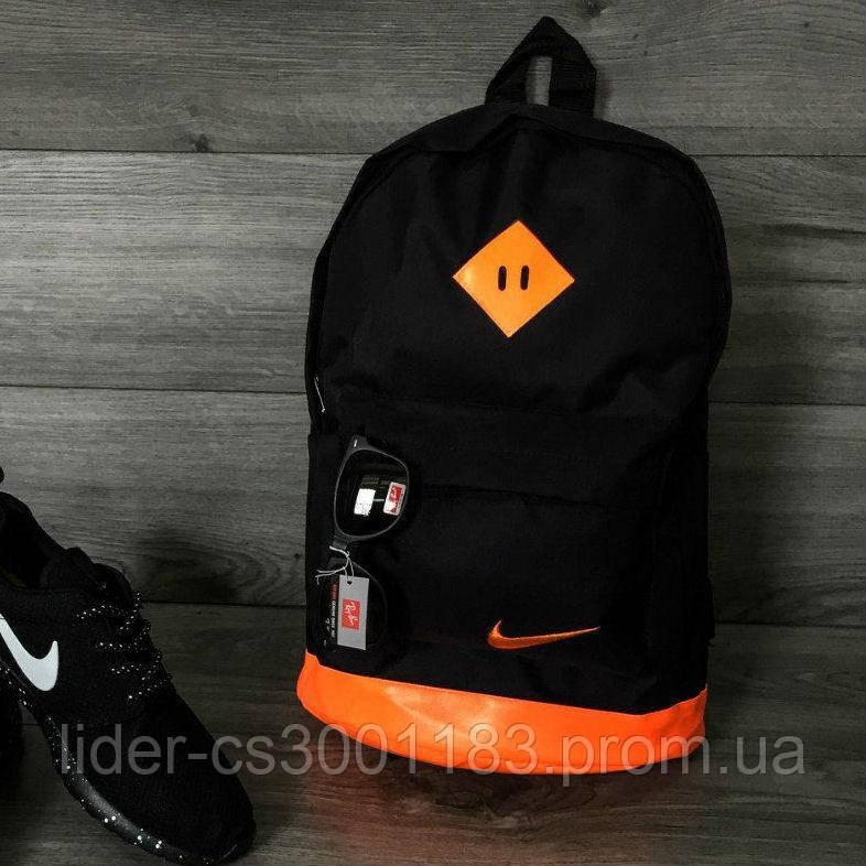 Яскравий рюкзак, портфель NIKE, Найк чорний з помаранчевими вставками. Місткий. Шкір. дно.