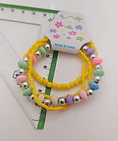 Детские регулируемые браслеты на резиночке из бисера и бус