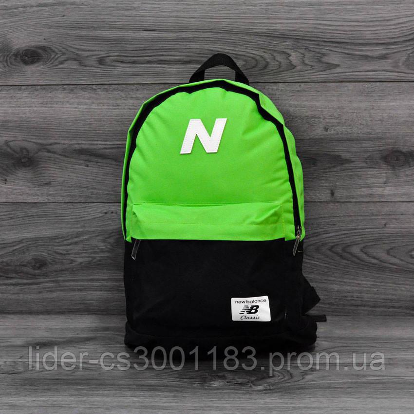 Міський спортивний рюкзак. Яскравий, стильний. Нью бланс, New Balance. Салатовий з чорним