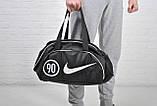 Сумка найк, Nike 90 спортивная с плечевым ремнем. Черная с белым, фото 3