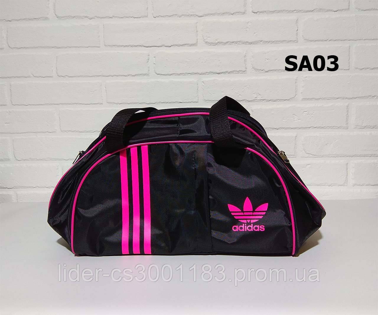 Спортивна сумка адідас, adidas для фітнесу з плечовим ременем. Чорна з рожевим