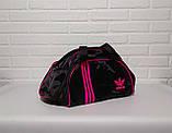 Спортивна сумка адідас, adidas для фітнесу з плечовим ременем. Чорна з рожевим, фото 2
