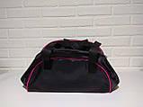 Спортивна сумка адідас, adidas для фітнесу з плечовим ременем. Чорна з рожевим, фото 3