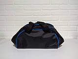 Спотривная сумка adidas для фитнеса с плечевым ремнем. Черная с голубым, фото 3
