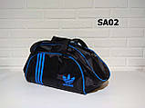 Спотривная сумка adidas для фитнеса с плечевым ремнем. Черная с голубым, фото 4