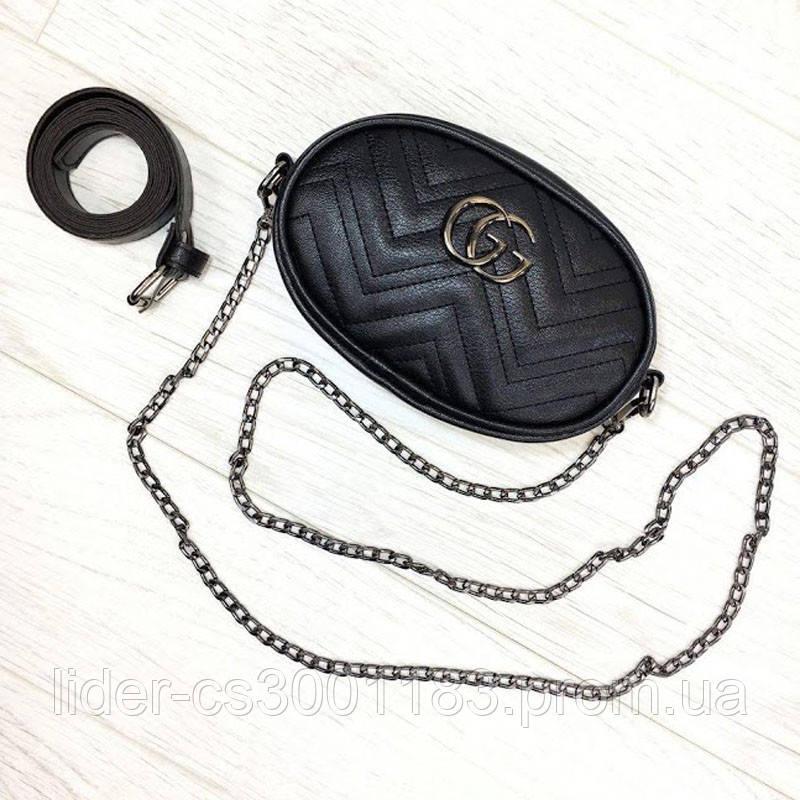Жіноча бананка, поясна сумка гучи, Gucci, кроссбоди. Чорна / 8811