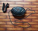 Жіноча бананка, поясна сумка гучи, Gucci, кроссбоди. Чорна / 8811, фото 3