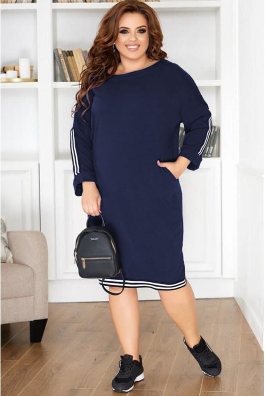 Стильное платье с тесьмой Ангела 48-60рр