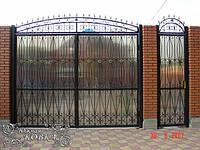 """Высокие ажурные распашные кованые ворота с аркой и калитка, зашитые бронзовым поликарбонатом """"стандарт класс"""", фото 1"""