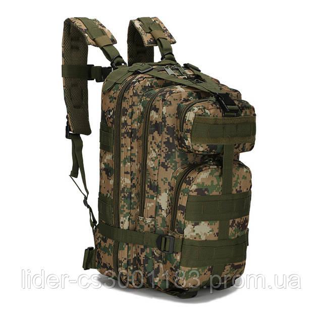 Тактичний, похідний рюкзак Military. 25 L. Камуфляжний, піксель, мілітарі. / T412