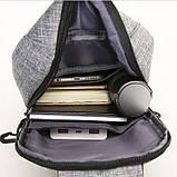 Однолямочный рюкзак, бананка протикрадій Bobby mini + USB порт і вихід для навушників., фото 9