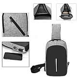 Однолямочный рюкзак, бананка протикрадій Bobby mini + USB порт і вихід для навушників., фото 10
