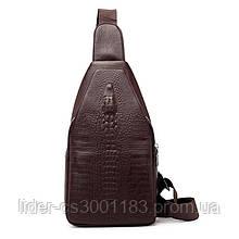Чоловіча сумка на одне плече, слінг Alligator. Коричнева / 2799-1