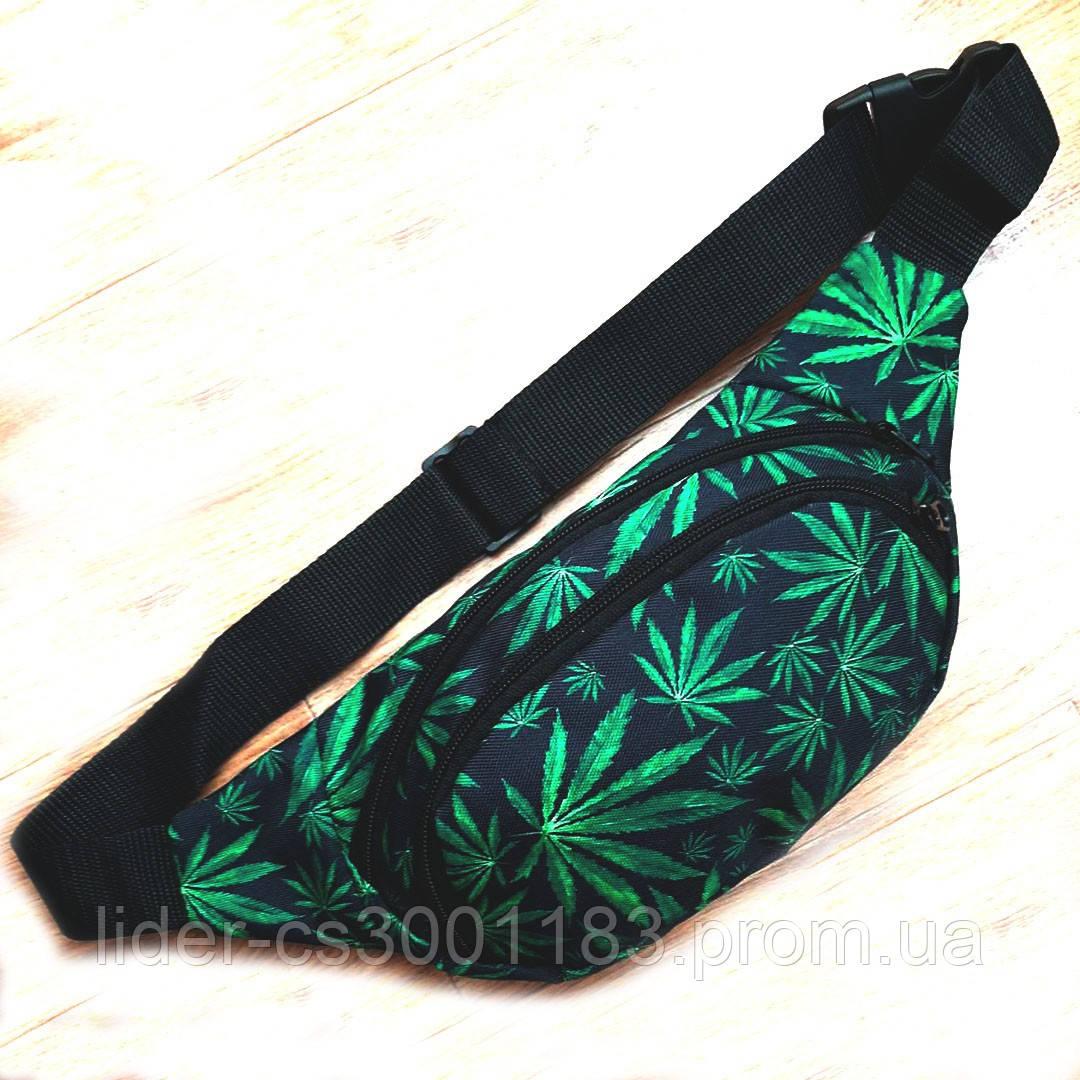 Поясна сумка, Бананка, барсетка коноплі. Cannabis