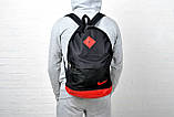 Рюкзак городской Nike (Найк) кожаное дно, спортивный. Черный с красным вставками. Молодежный, стильный., фото 5