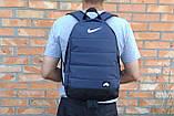 Якісний рюкзак Nike Air, найк темно-синього кольору з вставками шкір заступника чорного кольору., фото 3