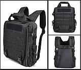 Тактическая сумка-рюкзак, мессенджер, портфель. Черный, фото 5