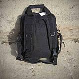Тактическая сумка-рюкзак, мессенджер, портфель. Черный, фото 8
