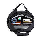 Тактическая сумка-рюкзак, мессенджер, портфель. Черный, фото 10
