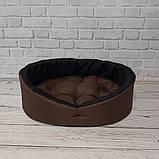 Лежанка, лежак для собак і кішок. Коричневий з чорним, фото 3