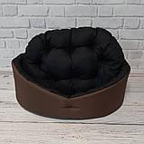 Лежанка, лежак для собак і кішок. Коричневий з чорним, фото 4