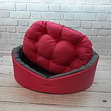 Лежак, лежанка для не великих собак і кішок. Рожевий з сірим, фото 4