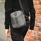 Стильна сумка через плече, барсетка Puma Ferrari, пума ферарі. Сіра з чорним, фото 2