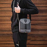 Стильна сумка через плече, барсетка Puma Ferrari, пума ферарі. Сіра з чорним, фото 6