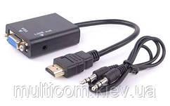 03-00-003. Конвертор HDMI в VGA (штекер HDMI → гнездо VGA + гнездо 3,5мм), шнур 20см