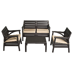 Набор мебели Irak Plastik Маями (2 кресла + скамейка + столик) тёмно-коричневый