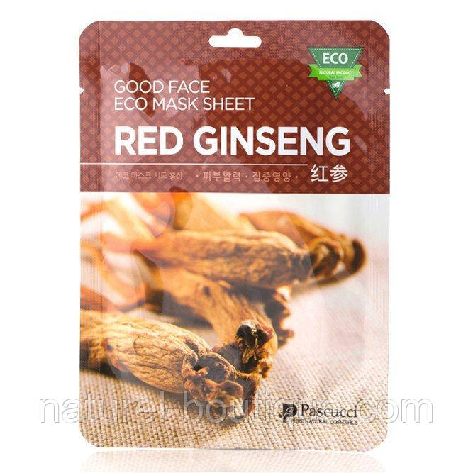 Маска тканевая для лица Amicell Pascucci Good Face  Eco Red Ginseng с экстрактом красного женьшеня