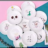 Керамическая тарелка блюдце 14 см стильный рисунок, набор 4шт., фото 6