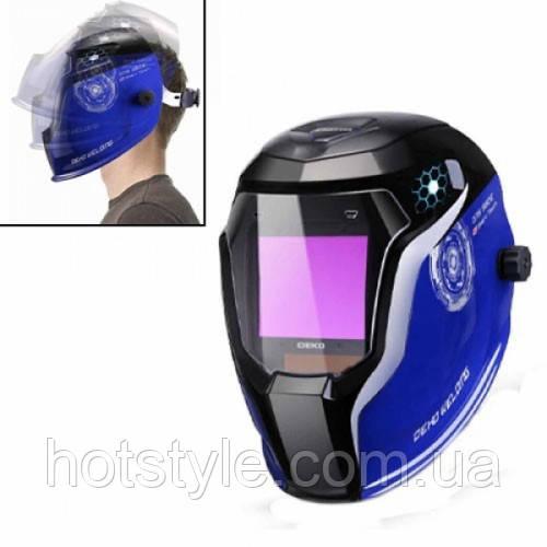 Маска для сварки, шлем сварочный с автозатемнением хамелеон, Deko DNS980E, 105398